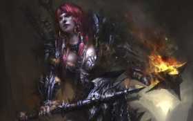 Обои огонь, варвар, сережки, секира, девушка, обруч, diablo 3