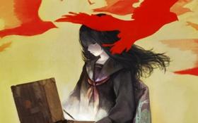 Картинка свет, птицы, Девушка, красные, чемодан