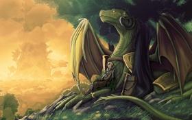 Обои лес, отдых, дракон, меч, воин