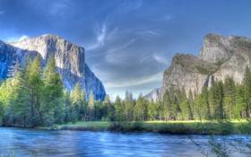 Обои река, деревья, небо, горы, hdr, озеро