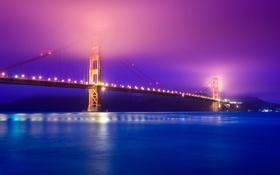 Обои Сан-Франциско, ночь, золотые ворота, мост, огни