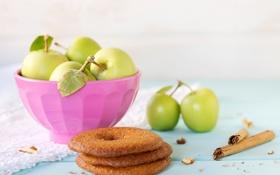 Картинка яблоки, палочки, печенье, тарелка, корица