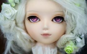 Картинка взгляд, игрушка, розы, кукла, блондинка