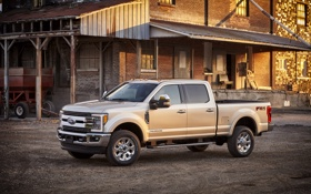 Обои Ford, форд, F-350, 2016, Super Duty, Crew Cab, пикап