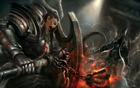 Обои diablo 3, crusader, reaper of souls, malthael