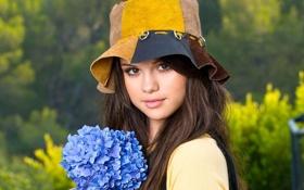 Картинка лето, цветы, букет, девочка, selena gomez