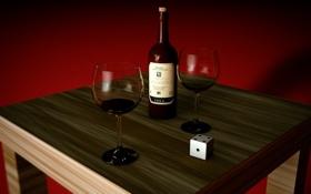 Обои вино, кубик, бокалы, красный фон, деревянный, стол, бутылка