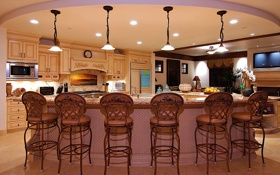 Обои дизайн, стиль, лампы, мебель, кресла, кухня, стойка