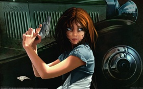 Обои девушка, оружие, револьвер, Ana del Valle Seoane