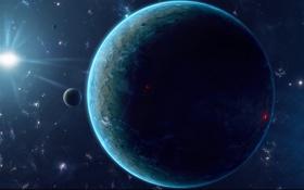 Картинка звезды, поверхность, огни, планета, спутник, рельеф