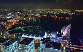 Картинка ночь, огни, Япония, Йокагама