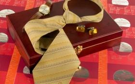 Обои фон, часы, галстук, шкатулка, запонки