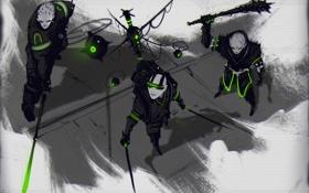 Обои киборг, мечи, воины, art, cyberpunk