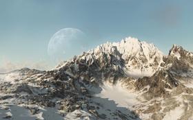 Обои планета, фантастика, гряда, арт, горы, снег