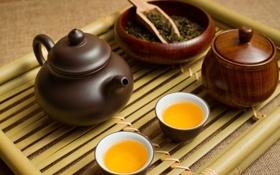 Обои чай, чайник, поднос, пиалы