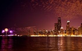 Обои ночь, огни, Чикаго, панорама, США, феерверк, Иллиноис