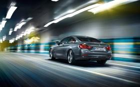 Картинка дорога, огни, купе, BMW, тоннель, четвертая серия