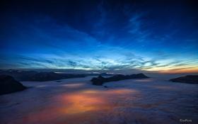 Картинка небо, звезды, закат, горы, высота, вечер, зарево