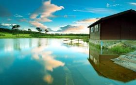 Обои пейзаж, дом, озеро, лето