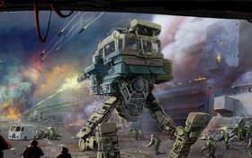 Обои война, роботы, арт, солдаты, war, инопланетяне, вар
