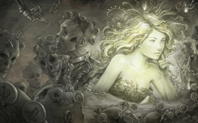 Картинка волосы, лицо, зомби, арт, девушка, цепи, ярлыки