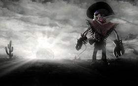 Обои солнце, закат, кактус, скелет, ковбой
