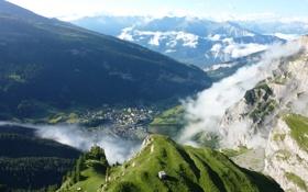 Картинка Clouds, Green, Switzerland, Mountain, Fog, Forest
