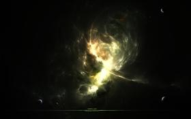 Обои свет, туманность, сияние, планеты