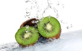 Картинка вода, капли, брызги, киви, фрукт