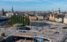 Обои швеция, stockholm, дома, здания, река, мосты