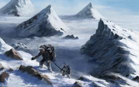 Картинка снег, горы, вершины, высота, арт, альпинисты