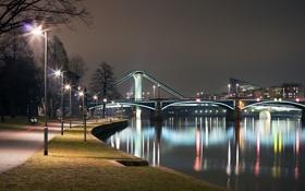 Картинка свет, ночь, город, река