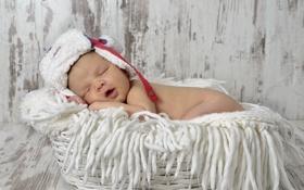 Обои корзина, шапка, младенец