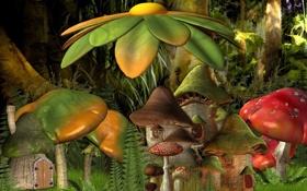 Обои лес, цветок, мультик, поляна, грибы, мультфильм, сказка