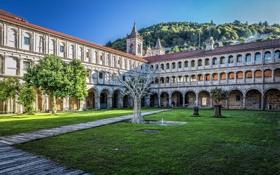 Картинка здание, отель, Испания, дворик, Spain, Parador de Santo Estevo, Ourense