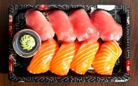 Обои рыба, соус, поднос, суши, вассаби