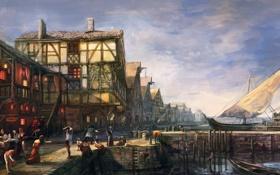 Обои город, люди, лодки, Ведьмак, The Witcher 3: Wild Hunt