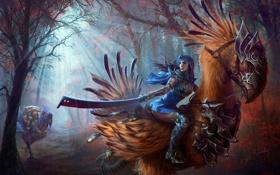 Картинка лес, девушка, птицы, оружие, арт, final fantasy, гигантские