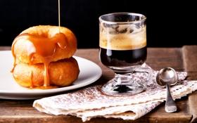 Картинка кофе, завтрак, пончики, выпечка, глазурь, coffee, donut