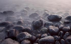 Обои крупный план, камни, дымка, макро, туман