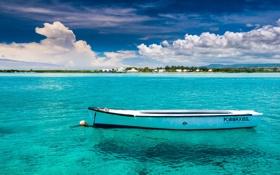 Обои небо, облака, лодка, остров, Океан, Маврикий