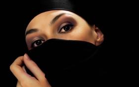 Картинка глаза, девушка, платок, чёрный фон