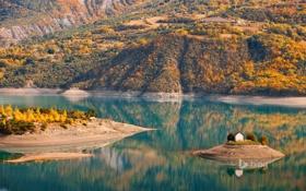Обои осень, лес, горы, природа, река, остров, церковь