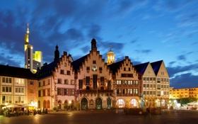 Обои город, фото, Германия, Frankfurt, Romerberg