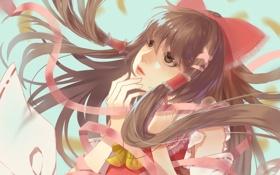 Обои взгляд, листья, девушка, задумчивость, touhou, art, hakurei reimu