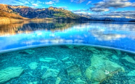 Обои камни, Канада, небо, озеро Атлин, дно, горы, hdr