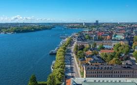 Обои город, река, фото, сверху, Швеция, Stockholm
