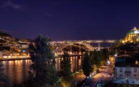 Обои река, Португалия, ночь, мост, Porto, огни