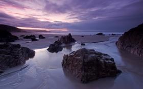 Обои песок, море, закат, камни, вечер, булыжники