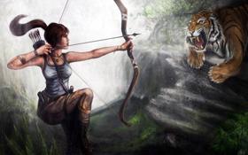 Картинка девушка, лицо, тигр, волосы, хищник, лук, арт
